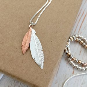Duo Mini Rose Gold & Medium Silver Feathers Necklace