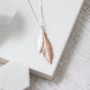 Duo Mini Silver & Medium Rose Gold Feather Necklace