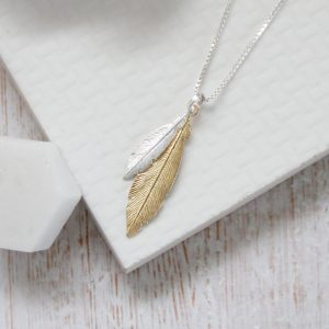 Duo Mini Silver & Medium Yellow Gold Feathers Necklace