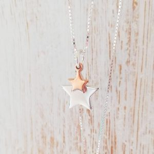 Duo Star Necklace - Rose Gold Dinky Star & Silver Large Star