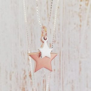 Duo Star Necklace - Silver Dinky Star & Rose Gold Large Star