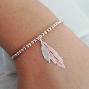 Duo Feather Sterling Silver & Rose Gold Slider Bracelet - Mini Silver & Medium Rose Gold Feathers