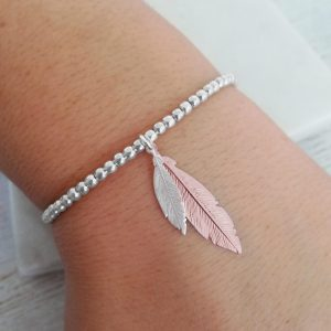 Duo Feather Sterling Silver Slider Bracelet - Mini Silver & Medium Rose Gold Feathers