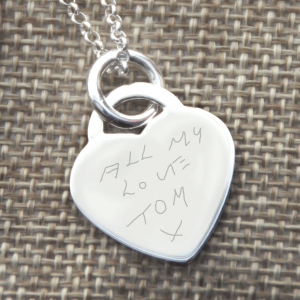 Engraved Handwriting Heart Necklace