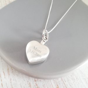 Engraved Large Sterling Silver Heart Urn Necklace
