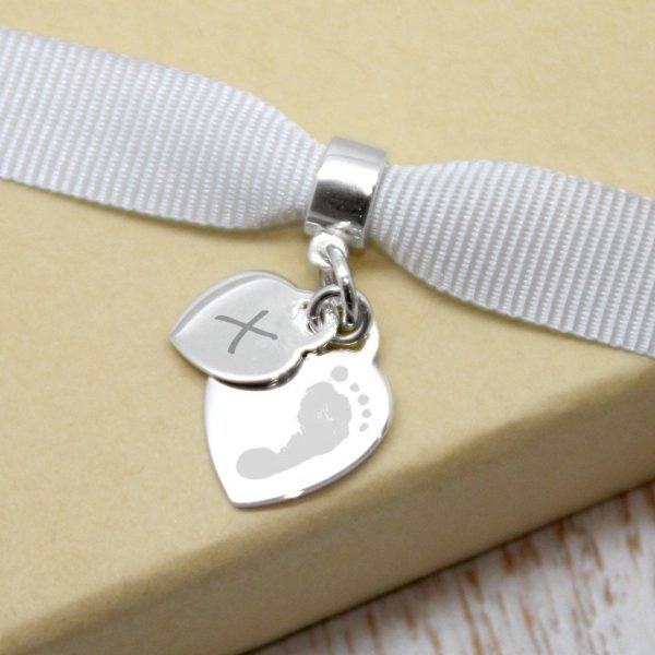 Engraved Mini Heart Charm With Footprint & Initial Charm