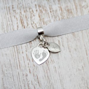 Engraved Mini Heart Charm With Handprint, Footprint & Initial Tag