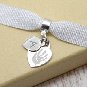 Engraved Mini Heart Charm With Handprint & Initial Charm