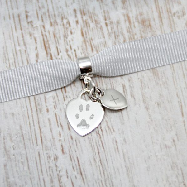 Engraved Mini Heart Charm With Paw Print & Initial Charm