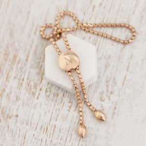 Engraved Rose Gold Pebble Slider Bracelet