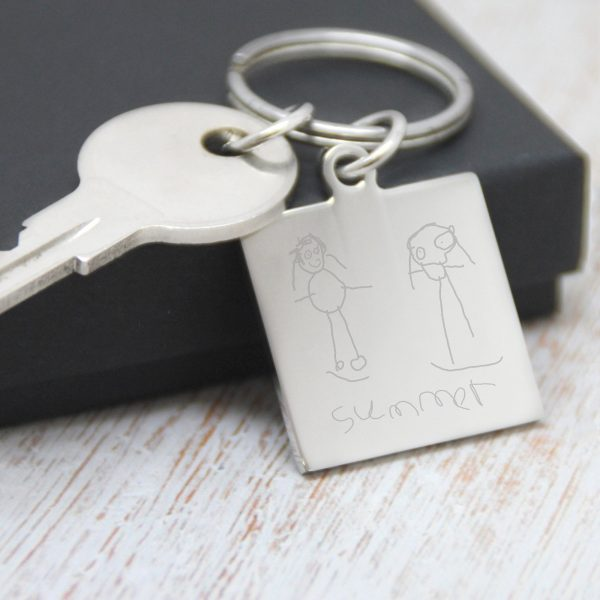 Engraved Small Square Doodle Keyring