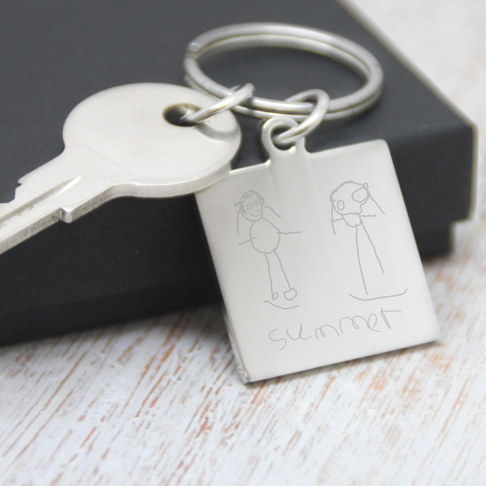 Perfect Fathers Day Gift! Text Engraved Square Keyring Personalised Photo