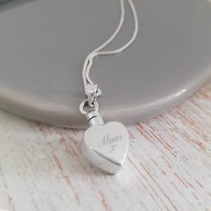 Engraved Small Sterling Silver Heart Urn Necklace