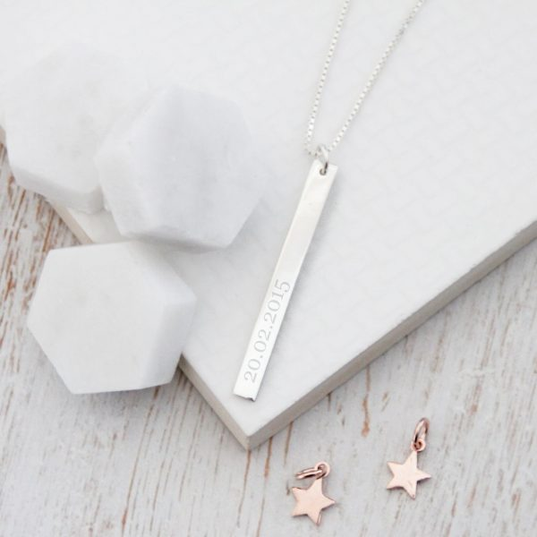 Engraved Sterling Silver Bar Necklace