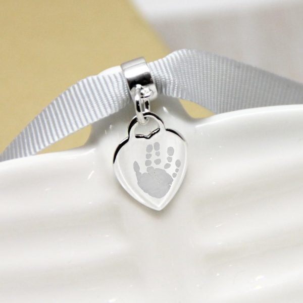 Engraved Sterling Silver Mini Heart Charm With Handprint