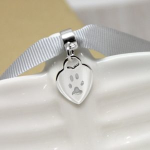 Engraved Sterling Silver Mini Heart Charm With Paw Print