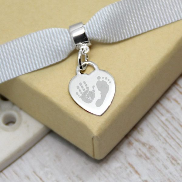 Engraved Sterling Silver Mini Heart Charm with Hand and Footprints