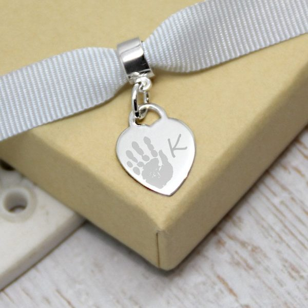 Engraved Sterling Silver Mini Heart Charm With Handprint & Initial
