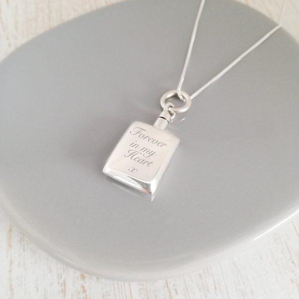 Engraved Sterling Silver Rectangle Urn Necklace