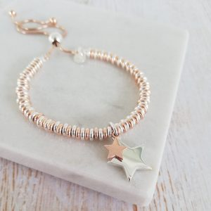Engraved Sterling Silver & Rose Gold Duo Star Sweetie Bracelet