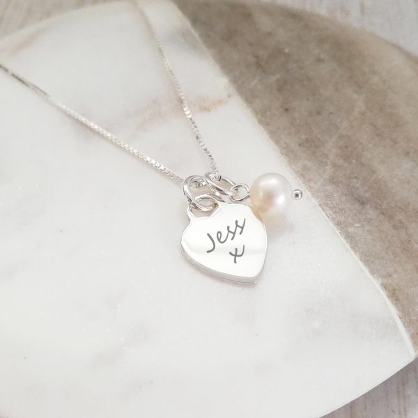 "Sterling Silver Engraved Heart Necklace - 'I Couldn't Say ""I Do"" Without You'"
