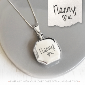 Sterling Silver Handwriting Hexagon Urn Necklace