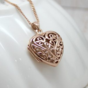 Intricate Rose Gold Filigree Heart Locket Necklace
