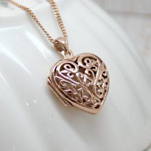 Intricate Rose Gold Filigree Heart Locket Necklace