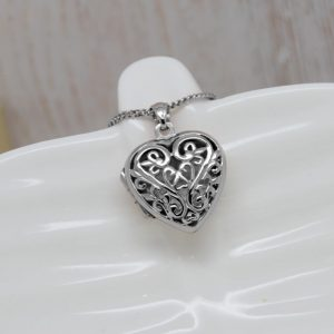 Intricate Sterling Silver Filigree Heart Locket Necklace