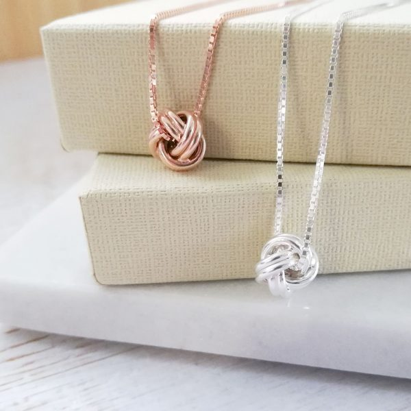 Silver and Rose Gold Knot Necklaces