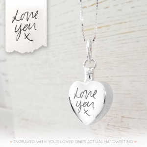 Sterling Silver Handwriting Large Heart Urn Necklace