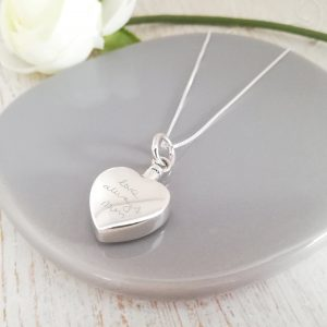 Large Sterling Silver Heart Urn Necklace with Handwriting