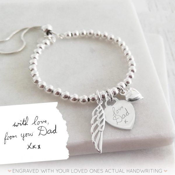 Sterling Silver Handwriting Memorial Bracelet