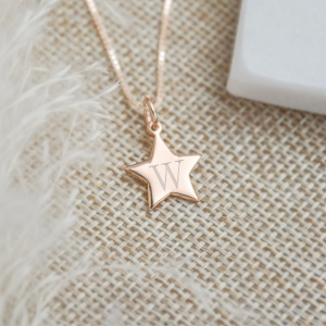 Rose Gold Vermeil Engraved Mini Star Necklace