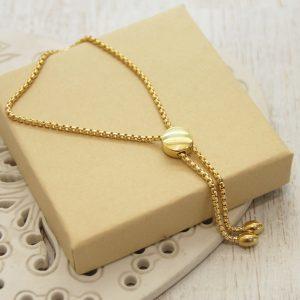 Yellow Gold Pebble Slider Bracelet