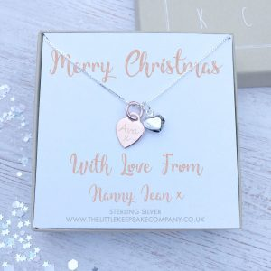 Personalised Rose Gold and Puff heart Name Necklace Gift