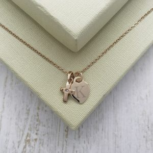 Rose Gold Vermeil Junior Crucifix Necklace With Engraved Dinky Heart Charm