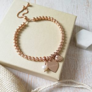 Rose Gold Ball Slider Bracelet With Engraved Charm & Pearl