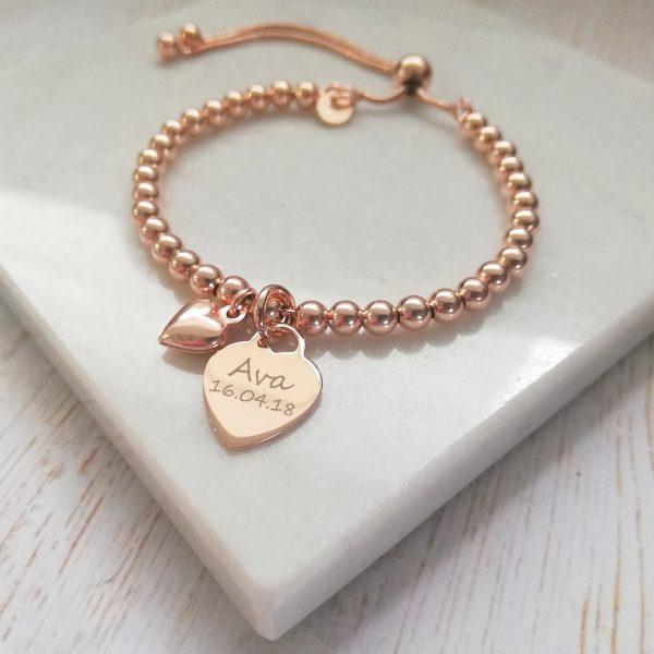 Rose Gold Vermeil Ball Slider Bracelet - With Engraved Rose Gold Heart Charm