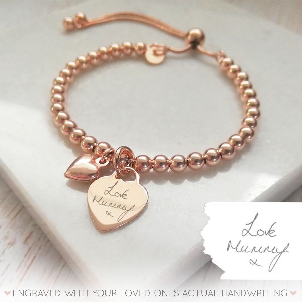 Rose Gold Vermeil Ball Slider Bracelet - With Handwriting Rose Gold Heart Charm