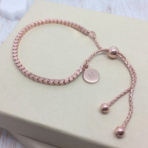 Rose Gold Box Slider Bracelet with Initial Tag