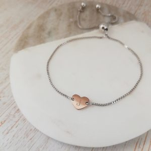 Rose Gold Engraved Heart Bracelet