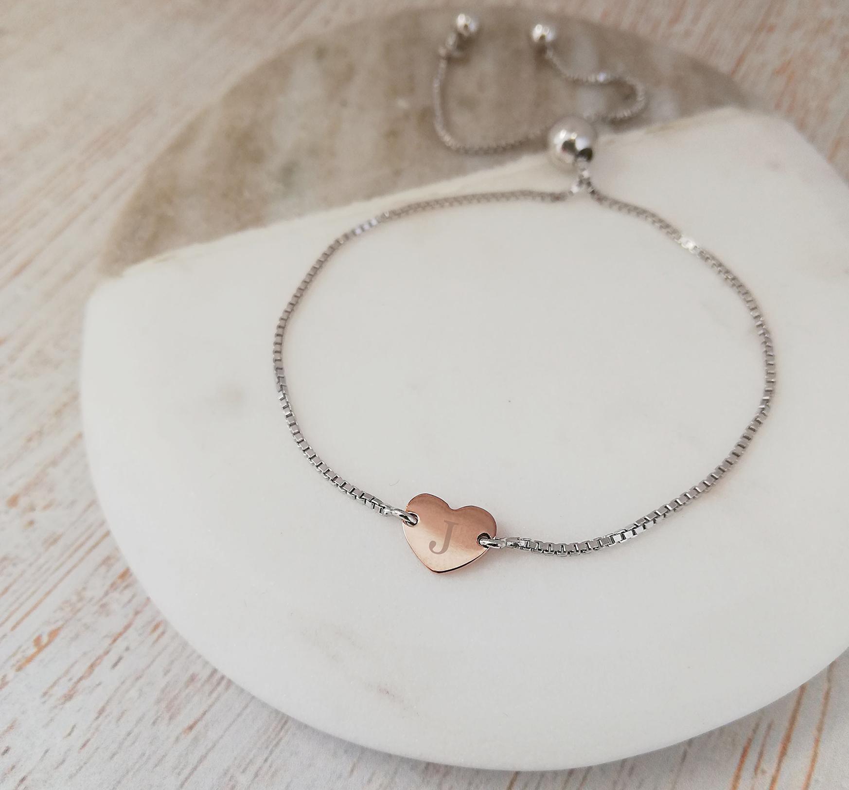 Rose Gold Engraved Heart Bracelet