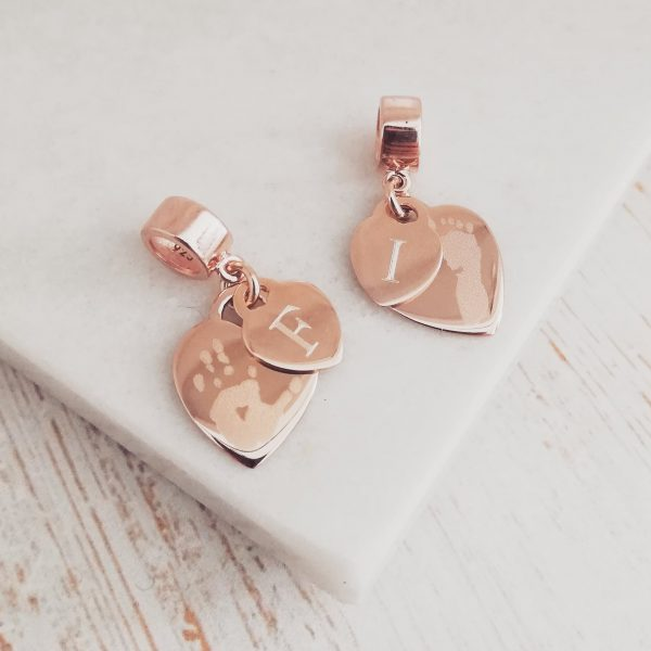 Rose Gold Engraved Mini Heart Charm With Initial Tag