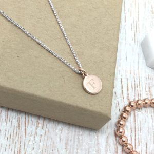 Rose Gold Initial Disc Necklace On Silver Box Chain