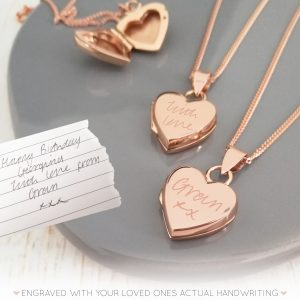 Rose Gold Vermeil Handwriting Heart Locket Necklace