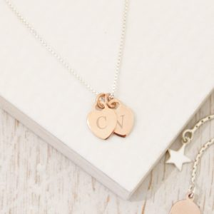 Rose Gold Mini Heart Initial Necklace On Silver Box Chain