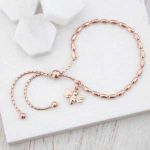 Rose Gold Seed Slider Bracelet with Rose Baby Bee