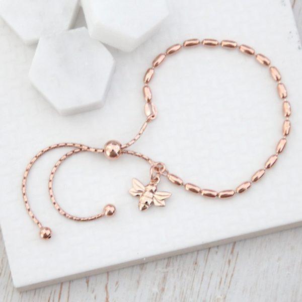 Rose Gold Seed Slider Bracelet with Rose Baby Bee
