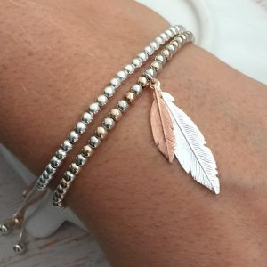 Rose Gold & Silver 'When Feathers Appear' Duo Feather Bracelet
